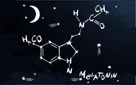 Chemical compound of melatonin on black background